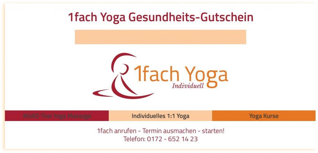 Geschenk-Idee! Gutschein für Yoga oder Massage verschenken.