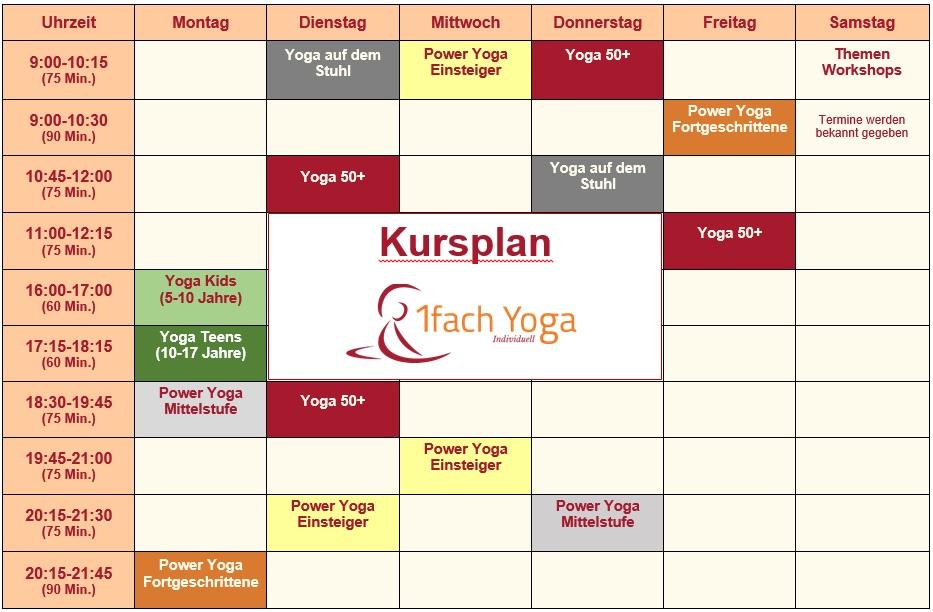 Yoga Kurse in Büttelborn, Kursplan